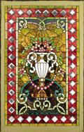 Decorative Arts, Continental:Other , A STAINED AND LEADED GLASS PANEL. Probably 19th Century. 52-1/2 x34 inches (133.4 x 86.4 cm). ...