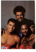 Boxing Collectibles:Autographs, Muhammad Ali and Joe Frazier Dual-Signed Neil Leifer Photograph. Pictured here with notorious fight promoter Don King, Muha...
