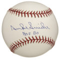 "Autographs:Baseballs, Duke Snider ""HOF 80"" Single Signed Baseball. The Duke of Flatbushapplies a 10/10 blue ballpoint signature to the sweet spo..."