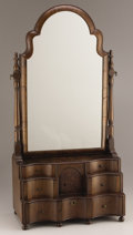 Furniture , AN ENGLISH QUEEN ANNE-STYLE WALNUT VANITY STAND AND MIRROR. 20th Century. 28 inches (71.1 cm) high. ...
