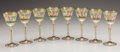 Art Glass:Other , EIGHT ITALIAN ENAMELED GLASS GOBLETS. Venice, Mid 20th Century. 7inches (17.8 cm) high, each. ...