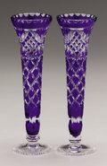 Art Glass:Other , A PAIR OF BOHEMIAN GLASS VASES. 20th Century. 8-3/4 inches (22.2cm) high, each. ... (Total: 2 Items)