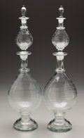 Art Glass:Other , A LARGE PAIR OF ITALIAN GLASS DOUBLE SCENT BOTTLES. Venice, Late19th-Early 20th Century. 22-1/2 inches (57.2 cm) high, each...(Total: 2 Items)