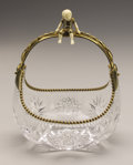 Art Glass:Other , A GILT METAL MOUNTED GLASS BASKET. 20th Century. 9-3/4 inches (24.8cm) high. ...