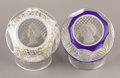 Art Glass:Other , TWO FRENCH GLASS SULFIDE CAMEO PAPERWEIGHTS . Baccarat, France,Circa 1953. 3-1/4 inches (8.3 cm) diameter, each. ... (Total: 2Items)