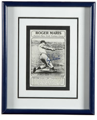 Roger Maris Signed Photograph. No fan of baseball worth his salt in unfamiliar with the epic home run race of 1961 that...