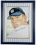 Baseball Collectibles:Others, Mickey Mantle Signed Gerry Dvorak Art. Mickey Mantle's #82 cardfrom the 1953 Topps issue remains one of the Hall of Famer'...