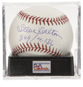 "Autographs:Baseballs, Steve Carlton Single Signed Baseball, PSA Mint+ 9.5. Steve Carltonhas added ""329/4,136"" inscription to note his career tota..."