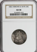 Seated Quarters: , 1853 25C Arrows and Rays AU58 NGC. NGC Census: (104/353). PCGSPopulation (77/307). Mintage: 15,210,020. Numismedia Wsl. Pr...