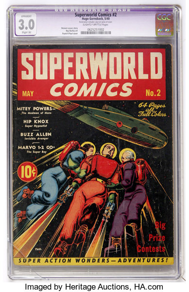 superworld comics 2 hugo gernsback 1940 cgc apparent gd vg lot