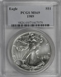 Modern Bullion Coins: , 1989 $1 Silver Eagle MS69 PCGS. PCGS Population (3140/0). NGCCensus: (66356/278). Mintage: 5,203,327. Numismedia Wsl. Pric...