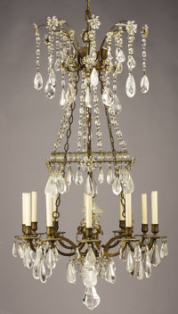 AN AMERICAN ROCK CRYSTAL TWELVE-LIGHT CHANDELIER Charles Winston, 20th Century 49 inches (124.5 cm) high