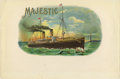 Antique Stone Lithography:Cigar Label Art, Majestic Nautical Cigar Label....