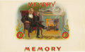 Antique Stone Lithography:Cigar Label Art, Memory Cigar Label by American Lithographic Co....