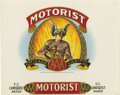 Antique Stone Lithography:Cigar Label Art, Motorist Cigar Label by Harry Erickson of Chicago,Illinois....