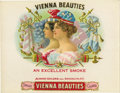 Antique Stone Lithography:Cigar Label Art, Vienna Beauties Cigar Label by Consolidated Lithographing Corporation....
