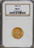Three Dollar Gold Pieces: , 1856 $3 MS61 NGC. NGC Census: (42/62). PCGS Population (13/80).Mintage: 26,010. Numismedia Wsl. Price for NGC/PCGS coin in...