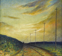 CHEE CHIN S. CHEUNG LEE (Chinese-American 1896-1966) The Railroad Oil on canvas 20 x 18 inches (50.8 x 45.7 cm) Sign