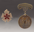 Military & Patriotic:Civil War, Engraved Union 22nd Corps Badge With Discharge Medal. Both of these items commemorate the Civil War service of a William J. ... (Total: 2 )