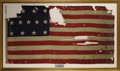 "Military & Patriotic:Civil War, 13 Star U. S. Naval ""Battle Flag"" A U.S. Navy Boat flag that saw extensive battle use, with bullet holes and cannon shot. Th..."