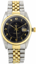 Timepieces:Wristwatch, Rolex Men's Gold, Stainless Steel Oyster Perpetual DateJustWristwatch, circa 1985. Case: 35 mm, stainless steel with flut...