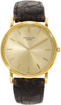 "Timepieces:Wristwatch, Patek Philippe Men's Gold ""Calatrava"" Leather Strap Wristwatch, circa 1950. Case: 32 mm, circular 18k yellow gold with sol..."