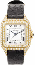 Timepieces:Wristwatch, Cartier Men's Diamond, Gold, Leather Strap Wristwatch, Modern .Case: 28 mm, cushion-shaped 18k yellow gold with double di...