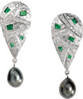 Estate Jewelry:Earrings, Diamond, Tsavorite Garnet, South Sea Cultured Pearl, Gold Earrings, Lunia. Each earring features full-cut diamonds, enhanc...