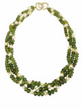 Estate Jewelry:Necklaces, Green Tourmaline, Cultured Pearl, Gold Necklace. The necklace iscomposed of faceted button-shaped green tourmaline beads ...
