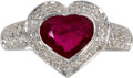 Estate Jewelry:Rings, Ruby, Diamond, White Gold Ring. The ring centers a heart-shapedruby measuring 8.60 x 7.30 x 3.20 mm and weighing approxim...