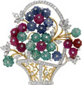 Estate Jewelry:Brooches - Pins, Diamond, Ruby, Sapphire, Emerald, Gold Pendant-Brooch. Designed as a flower basket, the pendant-brooch features carved rub...