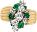 Estate Jewelry:Rings, Diamond, Emerald Gold Ring. The ring features full-cut diamonds weighing a total of approximately 1.25 carats, enhanced by...