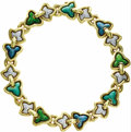 Estate Jewelry:Necklaces, Diamond, Enamel, Gold Necklace. The necklace, designed as a seriesof ivy leaves, features full-cut diamonds weighing a to...