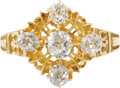 Estate Jewelry:Rings, Diamond, Gold Ring. The diamond ring features five mine-cutdiamonds weighing a total of approximately 1.15 carats, set in...