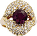 Estate Jewelry:Rings, Ruby, Diamond, Gold Ring. The ring features a round-cut ruby measuring 8.20 - 8.15 x 5.10 mm and weighing approximately 2....