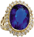 Estate Jewelry:Rings, Fluorite, Diamond, Gold Ring. The ring centers an oval-shaped color change fluorite measuring 16.50 x 12.00 x 9.50 mm and ...