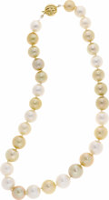 Estate Jewelry:Pearls, South Sea Cultured Pearl, Gold Necklace. The necklace is composed of alternating white and golden South Sea cultured pearl...