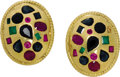 Estate Jewelry:Earrings, Ruby, Sapphire, Emerald, Gold Earrings. Each earring featuresrubies, sapphires and emeralds in various shapes and sizes, ...