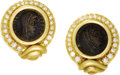 Estate Jewelry:Earrings, Ancient Roman Coin, Diamond, Gold Earrings. Each earring centers anancient Roman coin, framed by full-cut diamonds, set i...