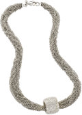 Estate Jewelry:Necklaces, Diamond, Gold Necklace. The 18k white gold multi-chain necklacefeatures a slide set with full-cut diamonds weighing a tot...