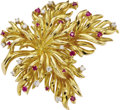 Estate Jewelry:Brooches - Pins, Diamond, Ruby, Gold Brooch, Tiffany & Co.. The brooch, designed as a leaf, features full-cut diamonds weighing a total of ...