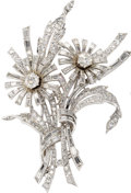 Estate Jewelry:Brooches - Pins, Diamond, Platinum Clip-Brooch. The brooch, designed as wildflowers,features two round brilliant-cut diamonds weighing a t...