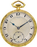 Timepieces:Pocket (post 1900), Patek Philippe Enamel, Gold Openface Pocket Watch, circa 1924. Case: 42 mm, hinged 18k yellow gold with decorative wallpap...
