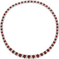 Estate Jewelry:Necklaces, Ruby, Diamond, White Gold Necklace. The graduated necklace features oval-shaped rubies weighing a total of approximately 3...