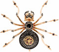 Estate Jewelry:Brooches - Pins, Sapphire, Diamond, Ruby, Silver, Gold Brooch, Russian. The brooch,designed as a spider, features a round-cut sapphire mea...