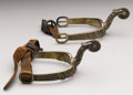 Military & Patriotic:Civil War, A Pair of Partial-Gilt Eagle-Head Spurs - Civil War These Civil War spurs are ornately made with eagle head designs holding ... (Total: 2 Items)