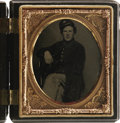 Military & Patriotic:Civil War, SIXTH PLATE TINTYPE OF FEDERAL SOLDIER WEARING 22ND CORPS BADGE, CA 1860S....
