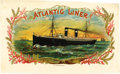 Antique Stone Lithography:Cigar Label Art, Atlantic Liner Cigar Label by Geo. S. Harris & Sons....