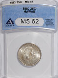 Coins of Hawaii: , 1883 25C Hawaii Quarter MS62 ANACS. NGC Census: (87/470). PCGSPopulation (154/749). Mintage: 500,000. (#10987)...