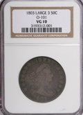 Early Half Dollars: , 1803 50C Large 3 VG10 NGC. O-101. NGC Census: (7/251). PCGSPopulation (12/292). Mintage: 188,234. Numismedia Wsl. Price f...